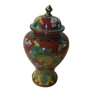 Vintage Metal Red and Green Closisonne' Chinese Metal Urn For Sale