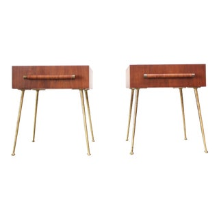 Pair of T.H. Robsjohn-Gibbings Walnut and Brass Nightstands For Sale