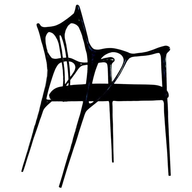 Black Brass Sculpted Brass Chair, Misaya For Sale