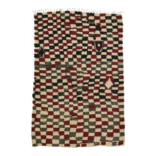 Mid-Century Modern Vintage Berber Moroccan Rug with Checkerboard Design For Sale