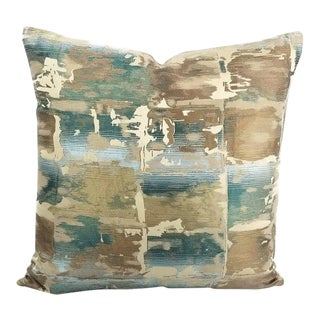 "Beacon Hill Annina in Dark Aqua Tan, Aqua, and Cream Paint Stroke Pattern Pillow Cover - 20"" X 20"" For Sale"