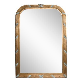 French Giltwood Mirror with Turquoise Accents For Sale