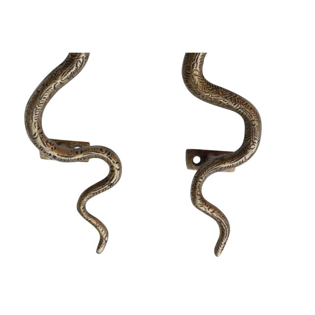 2010s Large Brass Cobra Door Handles - a Pair For Sale - Image 5 of 6