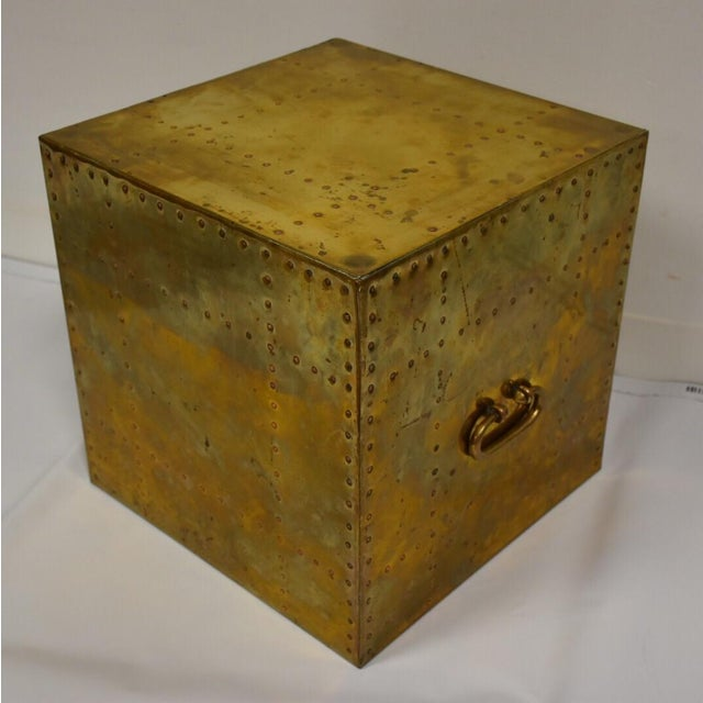 Sarreid Brass Cube End Table - Image 2 of 8