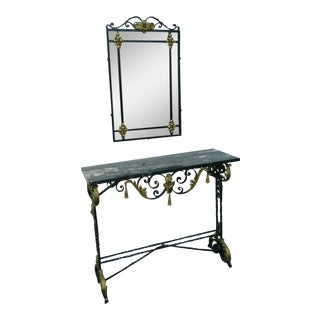 1900s Victorian Painted Metal Two Part Marble Top Console Table With Mirror - 2 Pieces For Sale