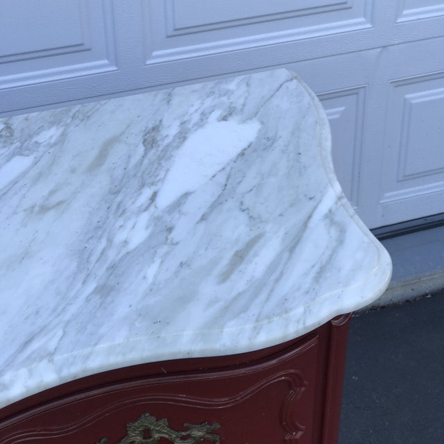 1980s Baker Marble Topped Painted Chippendale Dresser of Drawers For Sale - Image 5 of 13