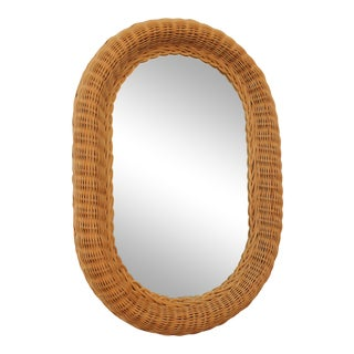 Vintage Boho Wicker Oval Framed Mirror For Sale