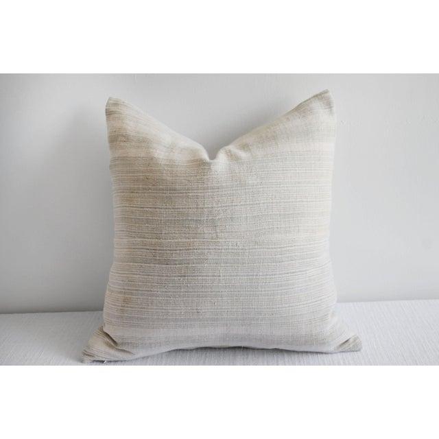 Beige Vintage European Linen Stripe Textile Pillow For Sale - Image 8 of 8