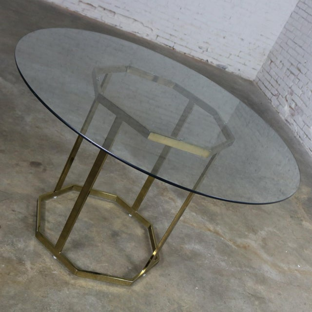 Milo Baughman for Thayer Coggin Milo Baughman Style Octagon Brass Plated Metal Dining Table With Round Glass Top For Sale - Image 4 of 12