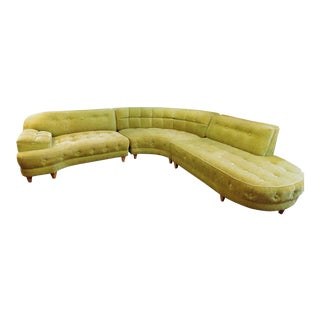 1960s Vintage Velveteen Sectional - 4 Pieces For Sale
