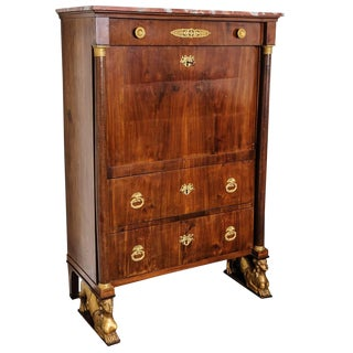 French Empire Secretaire a Abattant Secretary Desk by Ipolito Ceri, Circa 1817 For Sale