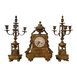 Louis XVI Style Three-Piece Clock Garniture For Sale