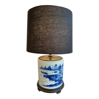 Antique Chinoiserie Delftware Lamp For Sale