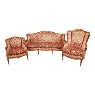 Pink Three Piece French Antique Louis XV Style Carved Parlor Suite Sofa Canape Loveseat For Sale