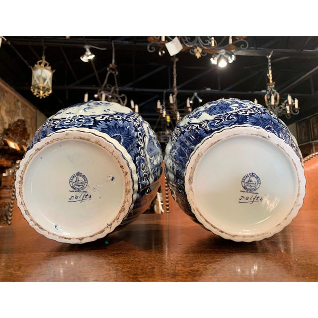 Ceramic Mid-20th Century Dutch Blue and White Royal Maastricht Delft Ginger Jars-a Pair For Sale - Image 7 of 9