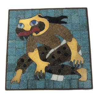 Salvador Teran Modernist Creature Motif Glass Mosaic and Brass Box For Sale