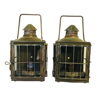 Antique Brass Nautical Sconce Set - a Pair For Sale