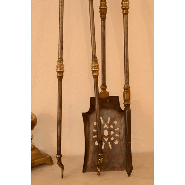 19th Century Very Decorative Set of Fire Tools, Shovel Poke and Tongs For Sale - Image 5 of 9
