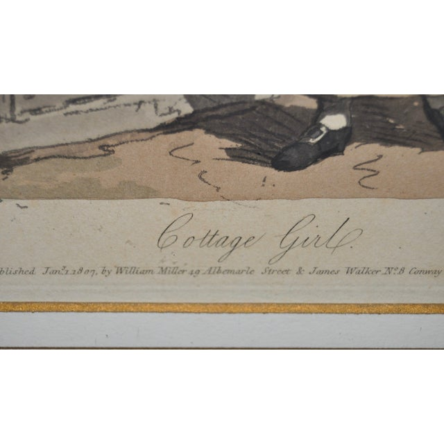 Cottage Girl Hand Colored Engraving C.1807 For Sale - Image 9 of 11