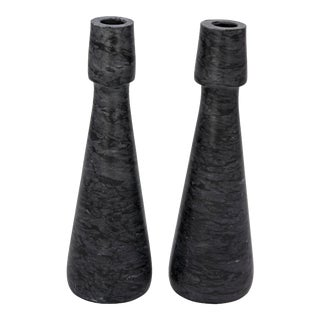 Mitros Decorative Candle Holders in Black Marble - Set of 2 For Sale