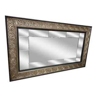 Oversized Black and Gold Beveled and Cut Glass Mirror For Sale