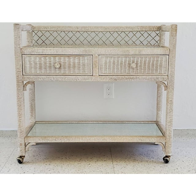 Wicker Vintage Henry Link Wicker Rolling Bar Cart For Sale - Image 7 of 7
