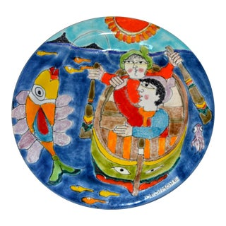 Italian Desimone Hand Painted Pottery Round Decor Plate Big Fish Fishermen Italy For Sale