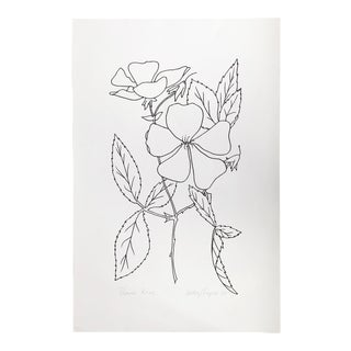 """Original Vintage 1979 Black and White Botanical """"Prairie Rose"""" Drawing Unframed on Paper Signed Betsey Tryon For Sale"""