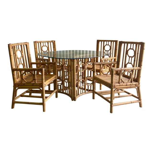 Vintage Medallion Bamboo Dining Table and Chairs - Set of 5 For Sale