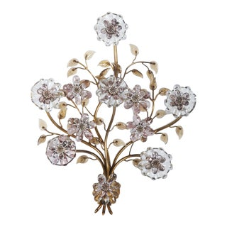 Maison Baguès Style Gilt Metal Sconce With Glass Flowers For Sale