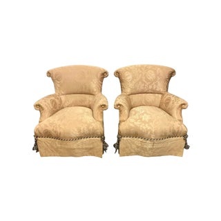 Pair of Baker Ox Back Vintage Armchairs For Sale