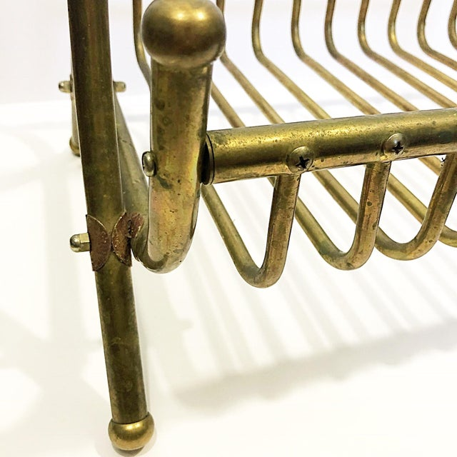 Gold Vintage Brass Magazine Rack For Sale - Image 8 of 8