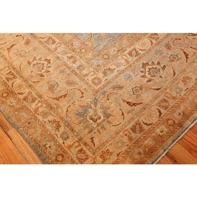 Large Antique Sky Blue Persian Kerman Carpet For Sale - Image 9 of 11