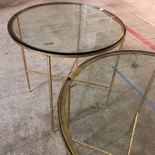 Gold Pair of Custom Gold Finish Round Side Tables For Sale - Image 8 of 12