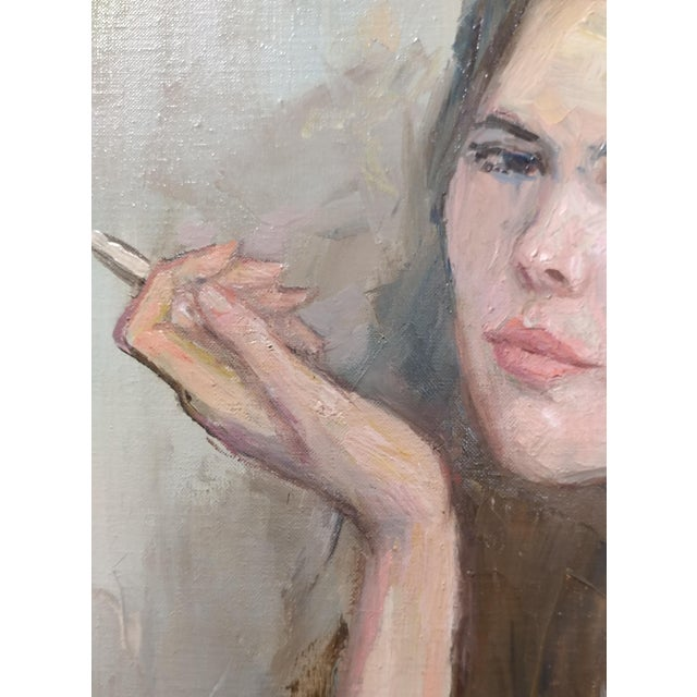 Canvas Pretty Woman Holding a Cigarette Original 1967 Oil Painting by Sam Harris For Sale - Image 7 of 10