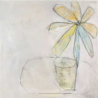 """Potted"" Contemporary Abstract Still Life Mixed-Media Painting by Sarah Trundle For Sale"