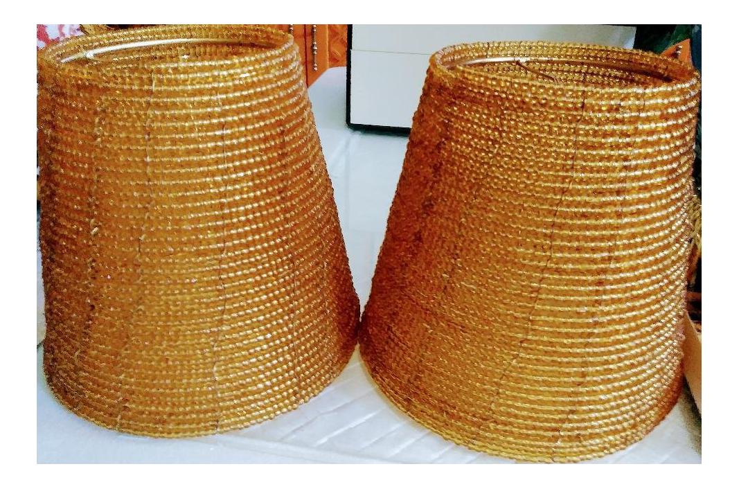 Vintage Amber Beaded Lamp Shades A Pair Chairish