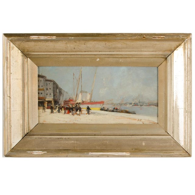 """19th Century """"Harbor During Date"""" Maritime Oil Painting Signed A. Michel, Framed For Sale - Image 10 of 10"""