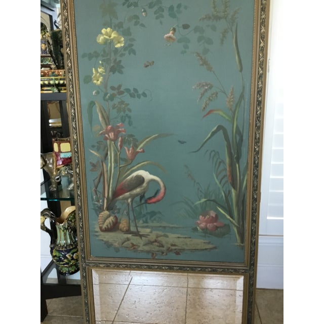 Antique Hand Painted Stork on Canvas Mirror - Image 3 of 5