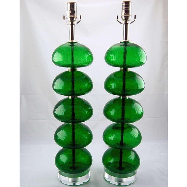 Murano Vintage Murano Stacked Font Glass Table Lamps Green For Sale - Image 4 of 7