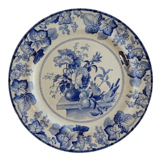 Antique Pearlware Blue & White Staffordshire Plate, 1800's For Sale
