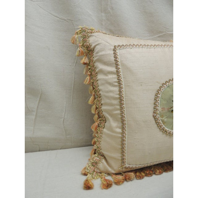 Late 19th Century Antique Aubusson Center Tapestry Decorative Pillow For Sale - Image 5 of 9