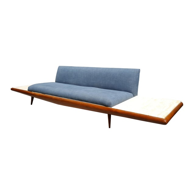 Danish Modern Mid Century Modern Adrian Pearsall Platform Sofa With Travertine End Tables by Craft Associates For Sale - Image 3 of 8