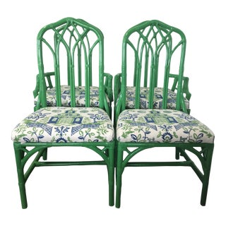 Vintage 1970s Henry Link Green Rattan Captain's and Side Chairs - Set of 4