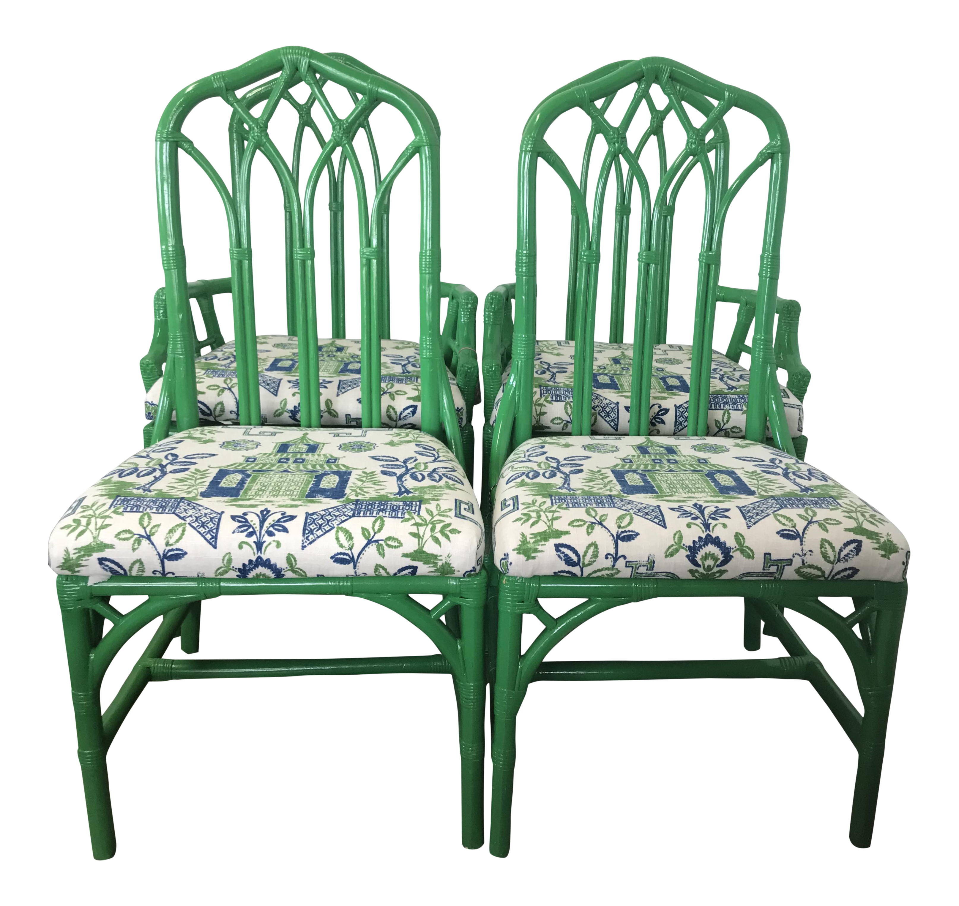 Vintage 1970s Henry Link Green Rattan Captainu0027s And Side Chairs   Set ...