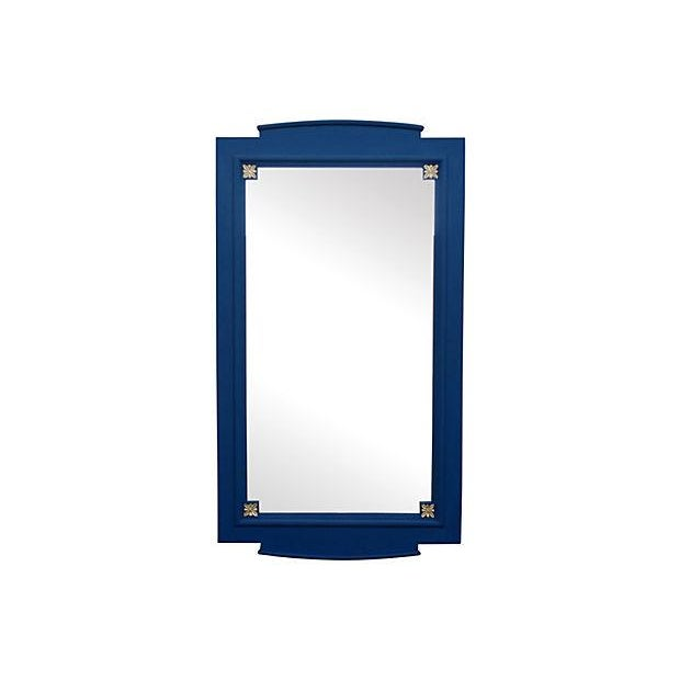 Asian Cobalt Blue Mirror For Sale - Image 3 of 3