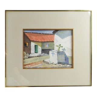 Village Street Painting by Walt Peters For Sale