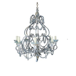 Eight-Light Wood Beaded Blue and Cream Painted Chandelier by Melissa Levinson For Sale