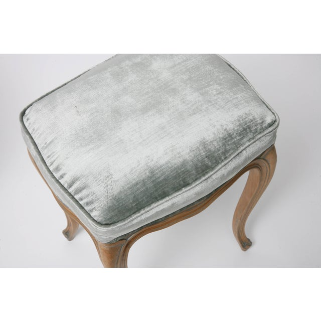 Fabric Vintage Louis XV Beechwood Benches / Stools in Blue-Grey Silk Velvet - a Pair For Sale - Image 7 of 11