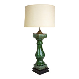 Late 20th Century Green Ceramic and Brass Baluster Lamp For Sale